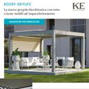 Pergola bioclimatica by KE con tetto a lame mobili ad impacchettamento